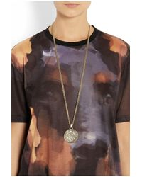 Givenchy - Metallic Small Medallion Necklace In Gold-Tone Metal - Lyst