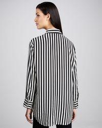 Go> By Go Silk Black Long Striped Silk Blouse Petite