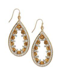 INC International Concepts - Metallic Goldtone Topaz and Clear Crystal Teardrop Earrings - Lyst