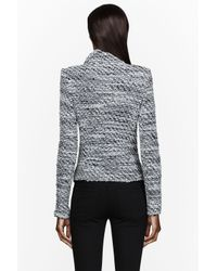 IRO Black and White Leather Trimmed Knit Josepina Jacket