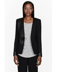 J Brand Black Wool Gabardine and Leather Odille Jacket