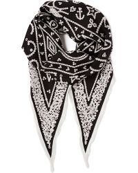 Jane Carr White Pearly King Silk Scarf for men
