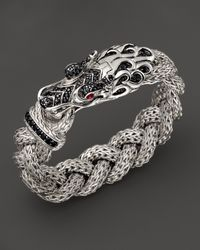 John Hardy - Sterling Silver Naga Large Braided Chain Dragon Head Bracelet With Black Sapphire And Ruby Eyes - Lyst