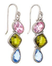 Judith Ripka | Multicolor Threestone Prism Earrings | Lyst