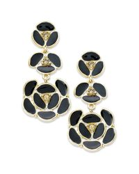 kate spade new york | Metallic New York Earrings 12k Gold Plated Black Disco Pansy Flower Drop Earrings | Lyst