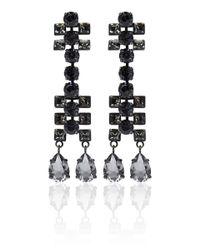 Lanvin | Black Crystal Drop Earrings | Lyst