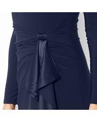 Lauren by Ralph Lauren Black Long-Sleeve Ruffled Silk Gown