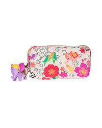 LeSportsac Multicolor The Tropical Zoo Rectangular Cosmetic Case with Hanging Charm
