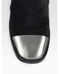 Marni Black Metallic Leather Calf Hair Loafers