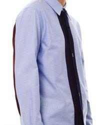 Marni Blue Knit Placket Oxford Shirt for men