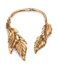 Oscar de la Renta Metallic Fluted Leaf Necklace