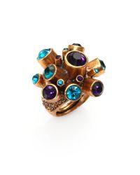 Oscar de la Renta | Metallic Crystal Cluster Ring | Lyst