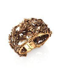 Oscar de la Renta - Metallic Oak Leaf Cuff Bracelet - Lyst