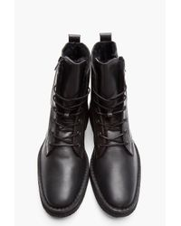 Pierre Hardy Black Leather Shearling-lined Combat Boots for men