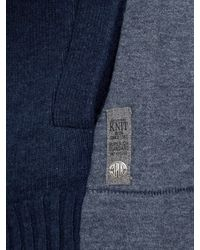 Replay Gray Contrast Sleeve Wool Rich Cardigan for men