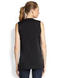 Robert Rodriguez Black Embellished Stretchsilk Top