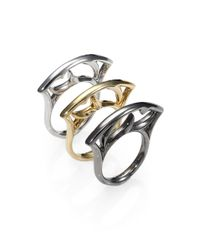 Stephen Webster | Gray Sterling Silver Curved Stack Ring/black | Lyst