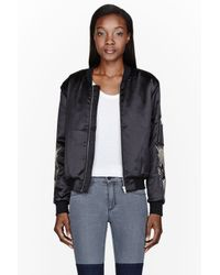 Surface To Air Black Sheen Embroidered Akta Bomber