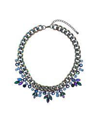 TOPSHOP | Blue Premium Rhinestone Flower and Chain Collar Necklace | Lyst