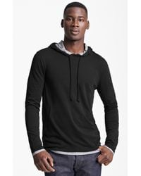 Vince | Black Double Layer Hoodie for Men | Lyst