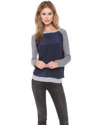 Vince Blue Color Block Raglan Sweater