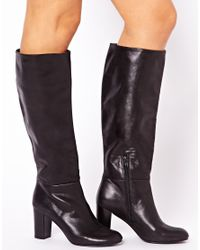 ASOS Black Cooper Leather Knee High Boots