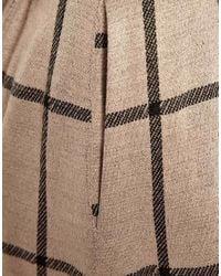 ASOS Brown Full Midi Skirt in Squared Check Print