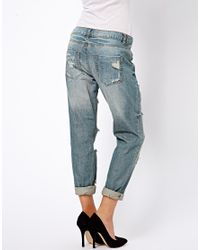 ASOS Blue Brady Slim Boyfriend Jean in Vintage Wash with Extreme Rips