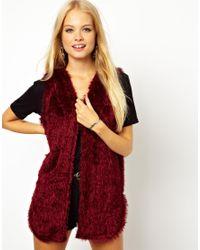 ASOS Red Sleeveless Cardigan in Fluffy Fabric