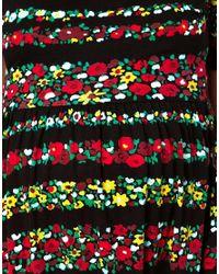 ASOS Black Stripe Floral Skater Dress