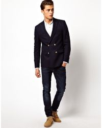 ASOS Black Slim Fit Double Breasted Blazer With Gold Buttons for men