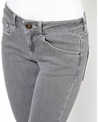 ASOS Gray Skinny Jeans in Washed Grey with Ripped Knees