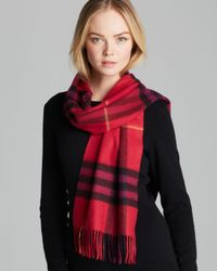 Burberry Red Giant Check Cashmere Scarf