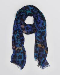Burberry Blue Animal Print Check Gauze Scarf
