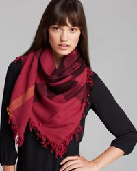 Burberry Red Color Check Wool Scarf