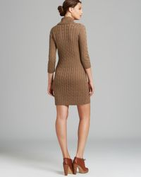 Calvin Klein Natural Shawl Collar Cable Knit Sweater Dress Three Quarter Sleeves