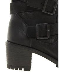 Carvela Kurt Geiger Black Shower Leather Block Heel Wrap Strap Biker Boots