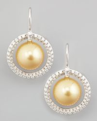 Eli Jewels | Metallic Golden South Sea Pearl & Diamond Halo Earrings | Lyst