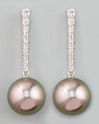 Eli Jewels | Metallic Gray South Sea Pearl & Diamond Bar Drop Earrings | Lyst