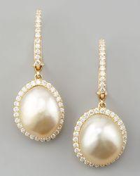 Eli Jewels | Metallic White South Sea Pearl & Diamond Framed Drop Earrings | Lyst