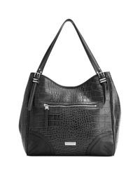 Franco Sarto Black Bleeker Croco Large Leather Tote