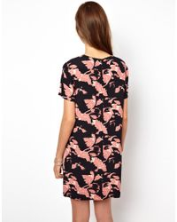 French Connection Pink Vine Bloom Panelled Shift Dress