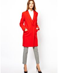 French Connection Red Belle Boucle Coat in Orange