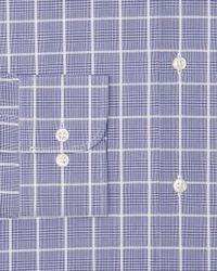 Ike Behar Blue Glen Plaid Dress Shirt Regular Fit for men