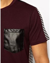 Izzue Red Back Stripe Tshirt with Faux Leather Pocket for men