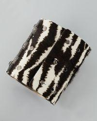 Lanvin - Black White Tiger-Print Cuff - Lyst
