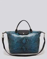 Longchamp Blue Satchel Le Pliage Python with Strap