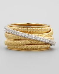 Marco Bicego Metallic Diamond Cairo 18K Seven-Strand Ring With Diamond Accent