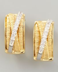 Marco Bicego | Metallic Diamond Cairo 18k Large Huggie Earrings With Diamonds | Lyst