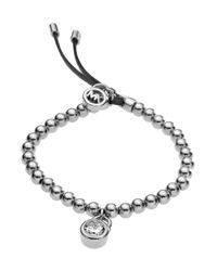 Michael Kors Metallic Bead Stretch Bracelet Silver Color